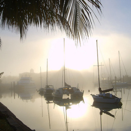 Boats in the Mist at Townsville by robstephaustralia
